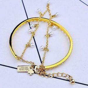 Kate Spade Fringed Pearl Gold Opening Bracelet